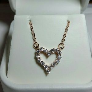 Jewelry - Rose Gold simulated diamond heart Necklace
